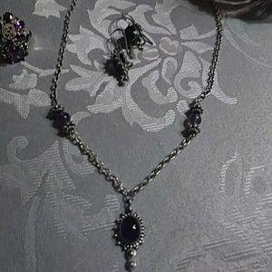 Amethyst necklace & earrings